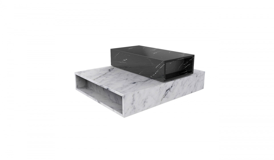Box bottom in Carrara marble and Box up in Nero Marquina marble