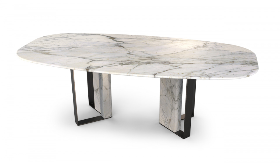 CALACATTA MARBLE AND METAL LACQUERED BLACK