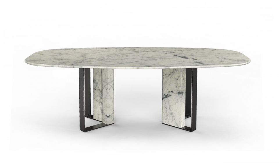 CARRARA MARBLE AND METAL LACQUERED BLACK