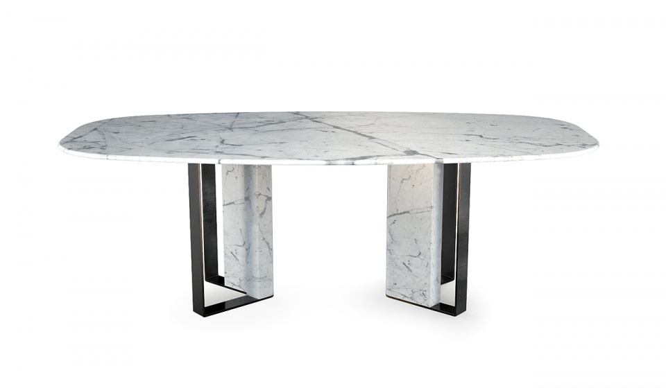 STATUARY MARBLE AND METAL LACQUERED BLACK