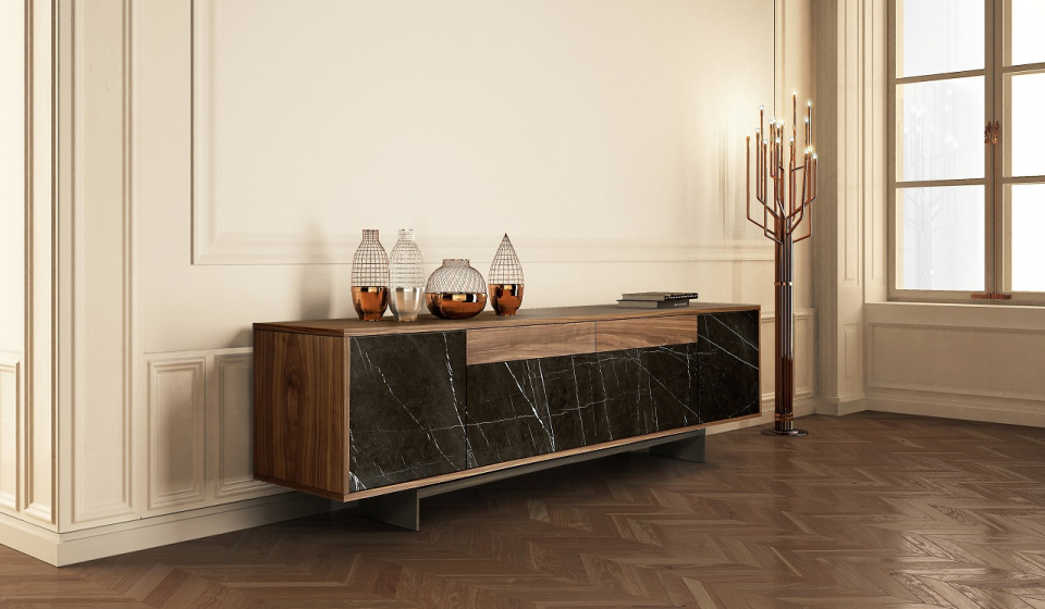 GREY KENDZO MARBLE AND WALNUT WOOD VENEERED