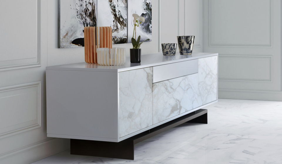 Calacatta marble and white mdf lacquered