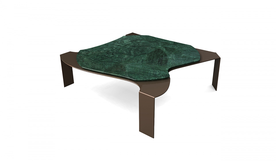 GREEN GUATEMALA MARBLE AND METAL LACQUERED