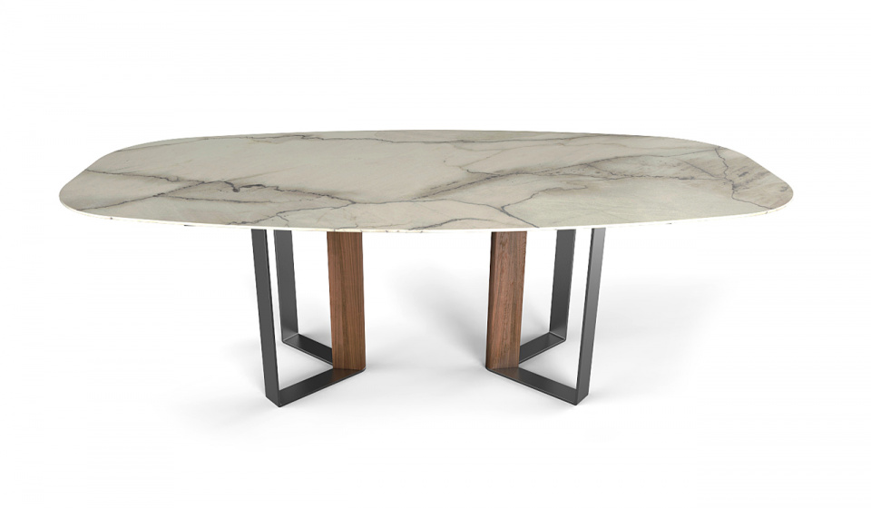 ESTREMOZ MARBLE, WALNUT WOOD AND METAL STRUCTURE