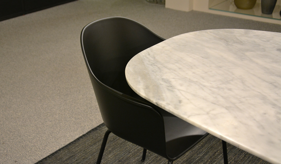 GRIGIO NUVOLATO MARBLE, OAK WOOD AND METAL STRUCTURE