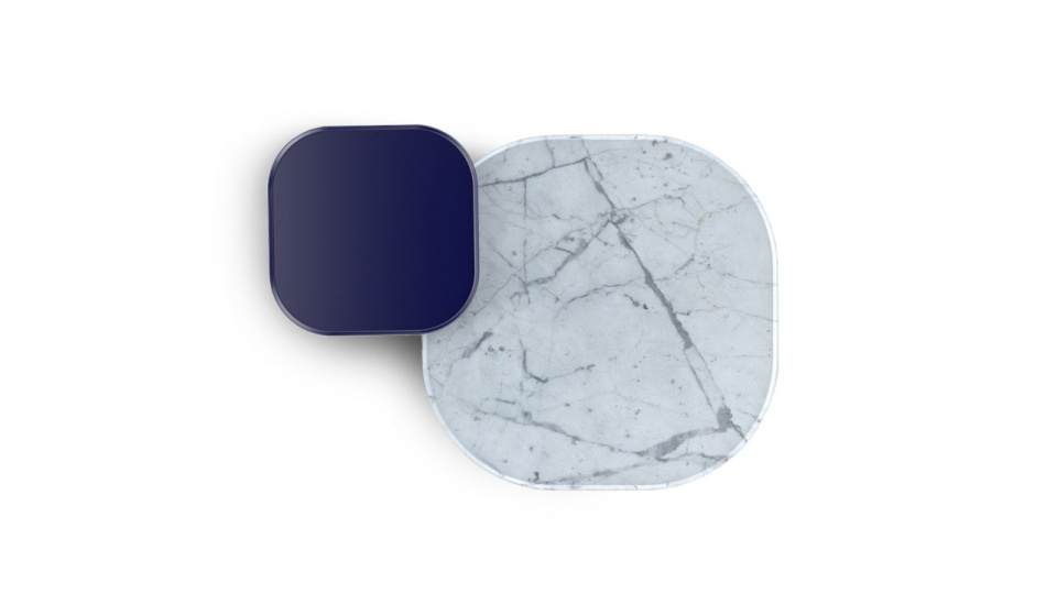 Plateia in Carrara marble and Plateia S mdf lacquered