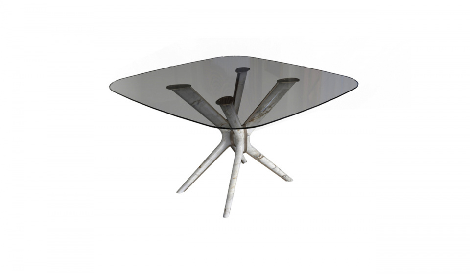 Table top in glass, lacquered base metal and Calacatta marble