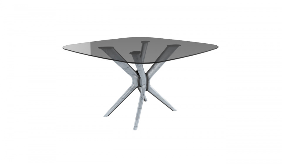 Table top in glass, lacquered base metal and Carrara marble