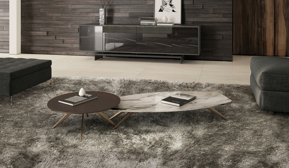 Solinas coffee table in calacatta marble and Diamerisma in madf lacquered