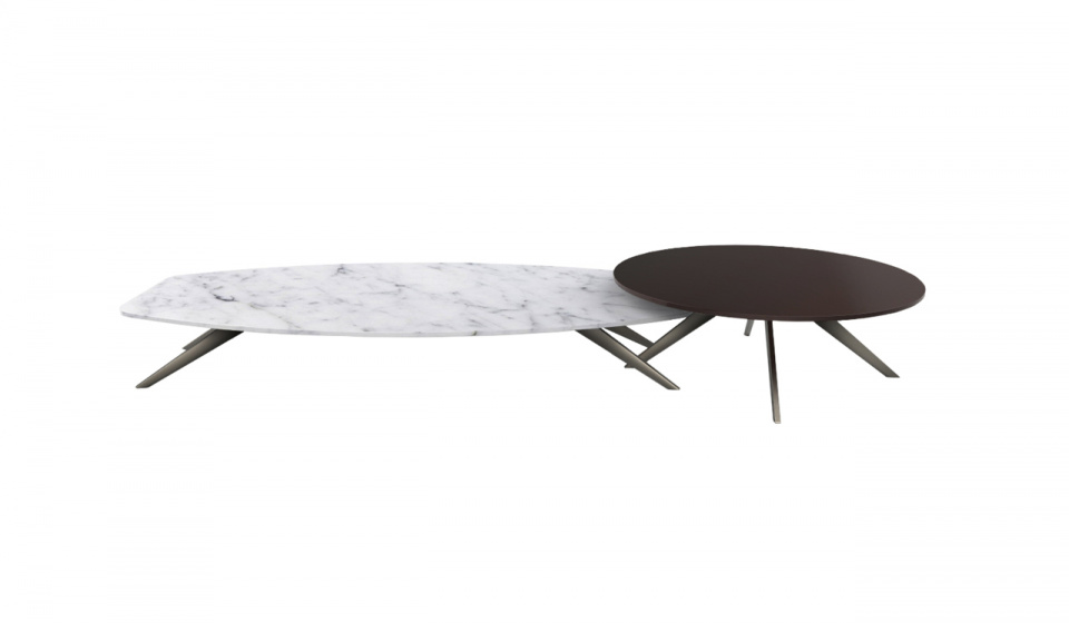 Solinas coffee table in carrara marble and Diamerisma in madf lacquered