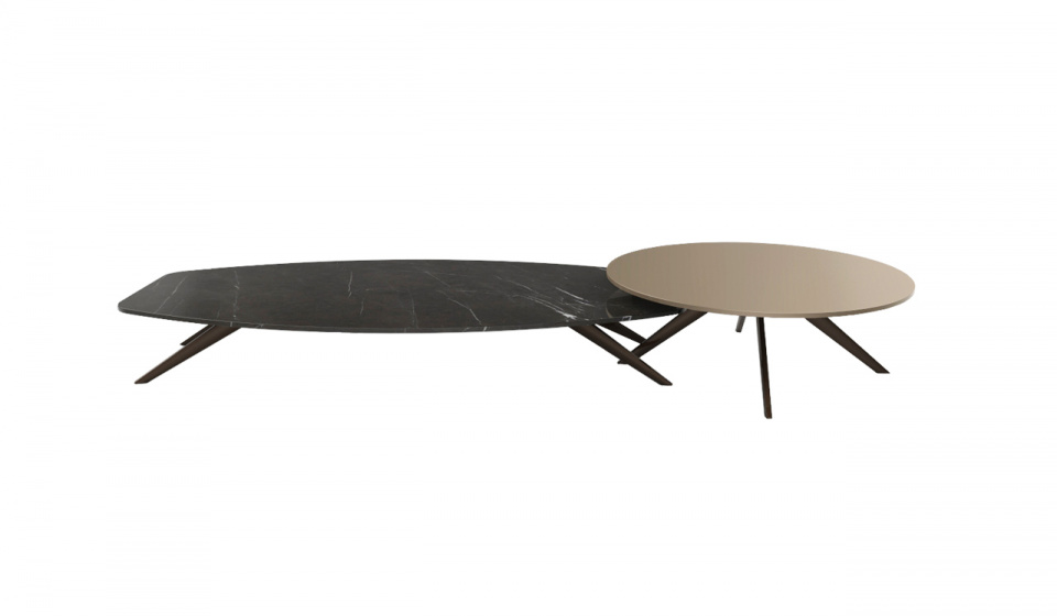 Solinas coffee table in Grey Kendzo marble and Diamerisma in madf lacquered