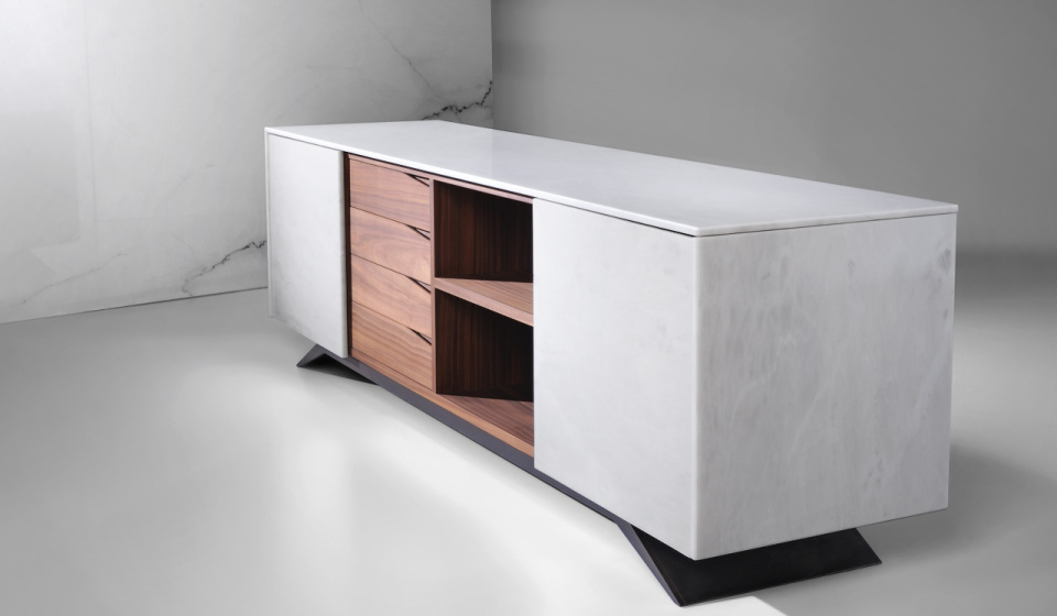 Estremoz VR1 marble and walnut wood