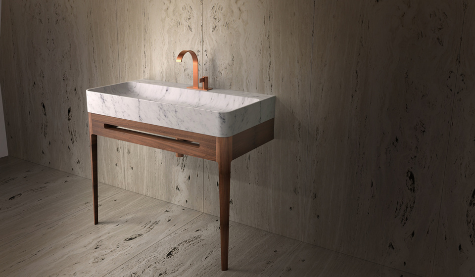 Carrara marble and walnut wood