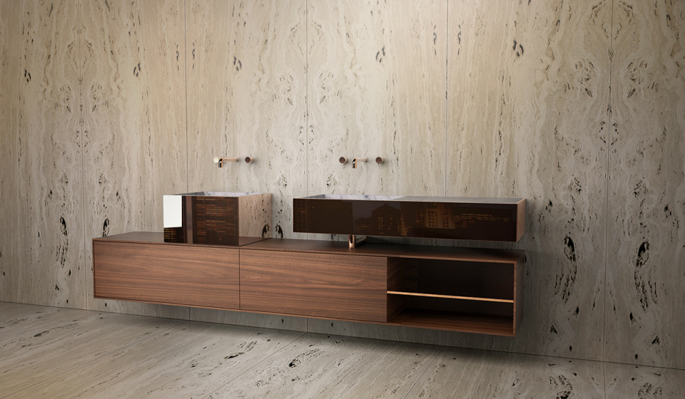 Washbasin marble carrara, cabinet in walnut wood. Covering drawers in copper finish.