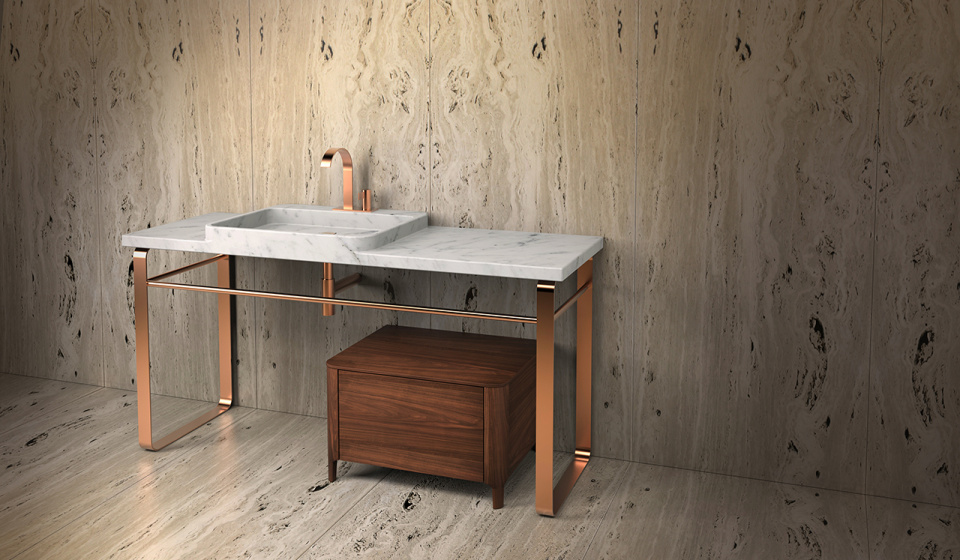 Washbasin marble carrara, struture in stainless steel and cabinet in walnut wood