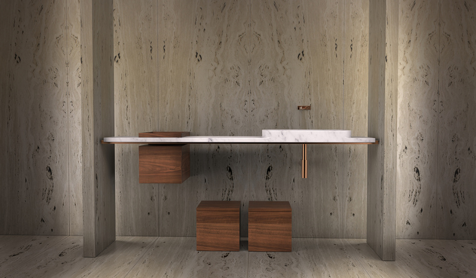 Washbasin in carrara marble and boxes in walnut wood