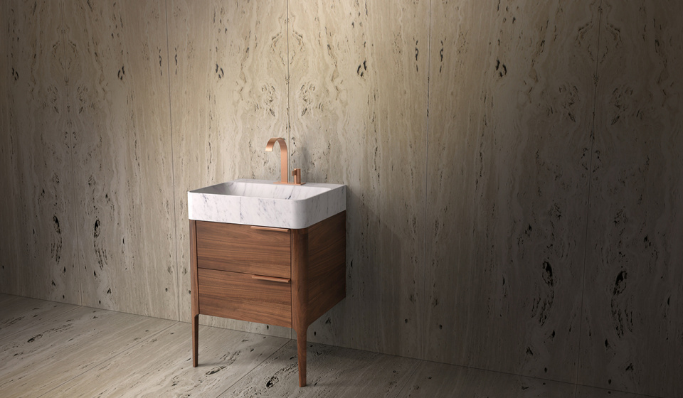 Washbasin in carrara marble and cabinet in walnut wood