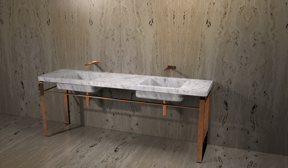 Washbasin carrara marble and structure in stainless steel